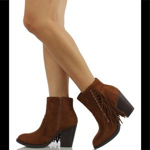 Shoes - Cognac fringe Stacked block heel ankle boot